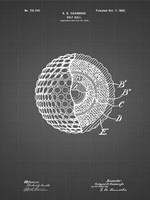Golf Ball Patent - Black Grid Fine-Art Print