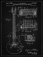Guitar & Combined Bridge & Tailpiece Therefor Patent - Vintage Black Fine-Art Print