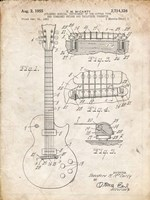 Guitar & Combined Bridge & Tailpiece Therefor Patent - Vintage Parchment Fine-Art Print