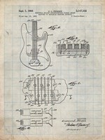 Electric Guitar Patent - Antique Grid Parchment Fine-Art Print