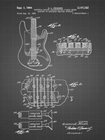 Electric Guitar Patent - Black Grid Fine-Art Print