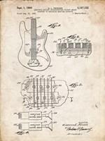 Electric Guitar Patent - Vintage Parchment Fine-Art Print