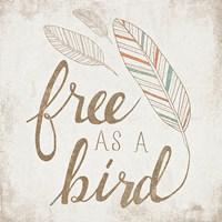Free as a Bird Beige Framed Print