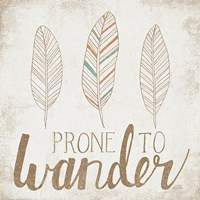 Prone to Wander Beige Framed Print