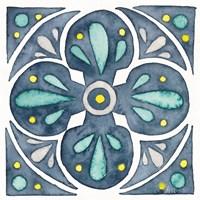 Garden Getaway Tile VI Blue Fine-Art Print