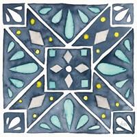 Garden Getaway Tile IX Blue Fine-Art Print