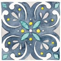 Garden Getaway Tile IV Blue Fine-Art Print