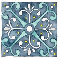 Garden Getaway Tile III Blue Fine-Art Print