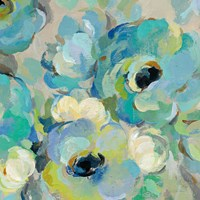 Fresh Teal Flowers III Fine-Art Print