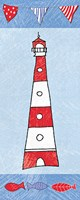 Coastal Lighthouse I on Blue Fine-Art Print