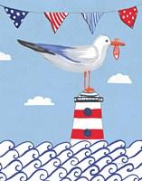 Coastal Bird I Flags on Blue Fine-Art Print