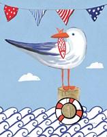 Coastal Bird II on Blue Fine-Art Print