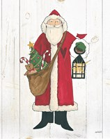 Vintage St Nick I no Words on White Wood Fine-Art Print