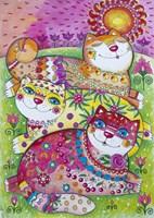 3 Happy Cats Fine-Art Print