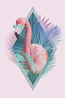 Tropical Leaves & Flamingo Fine-Art Print