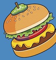 Cheeseburger On Blue Fine-Art Print