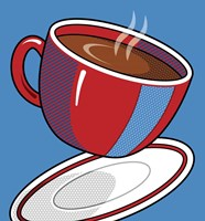 Red Coffee Cup On Blue Fine-Art Print