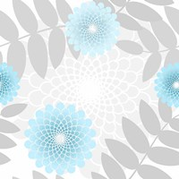 Flowers And Leaves Pattern Baby Blue Fine-Art Print
