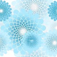 Spiral Flowers Pattern Baby Blue Fine-Art Print