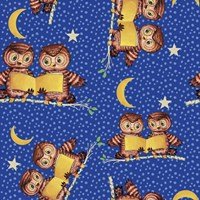 Cute Baby Owls Starry Night Pattern Fine-Art Print