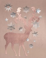 Park Avenue Rosegold Deer in the Silver Snow Fine-Art Print