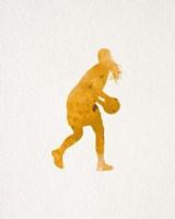 Basketball Girl Watercolor Silhouette Part III Framed Print