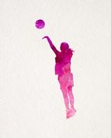 Basketball Girl Watercolor Silhouette Part IV Fine-Art Print