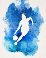 Basketball Girl Watercolor Silhouette Inverted Part II Framed Print