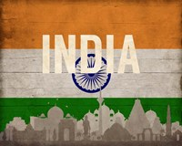 New Delhi, India - Flags and Skyline Fine-Art Print