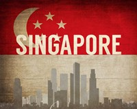 Singapore - Flags and Skyline Fine-Art Print
