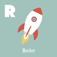Transportation Alphabet - R is for Rocket Fine-Art Print