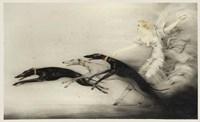 Art Deco Woman Greyhounds Fine-Art Print