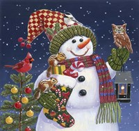 Snowman with Lantern Fine-Art Print