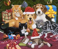 Christmas Meeting - Kittens and Puppies Fine-Art Print