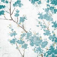 Teal Cherry Blossoms II on Cream Aged no Bird Fine-Art Print