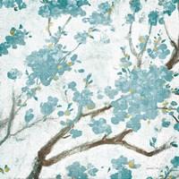 Teal Cherry Blossoms I on Cream Aged no Bird Fine-Art Print