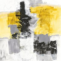 Action II Yellow and Black Sq Fine-Art Print