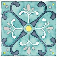 Garden Getaway Tile III Teal Fine-Art Print