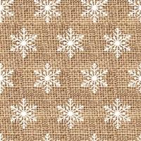 Burlap White Snowflakes Fine-Art Print