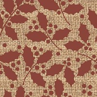 Red Holly Branches Burlap Fine-Art Print