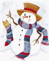 Snowman With Cat In Stocking Fine-Art Print