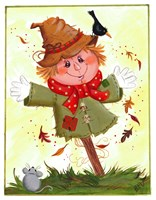 Scarecrow With Crow & Mouse Fine-Art Print