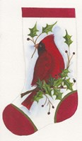 Cardinal With Holly Stocking Fine-Art Print