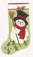 Snowman With Broom Stocking Fine-Art Print