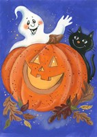 Pumpkin, Ghost & Cat Fine-Art Print