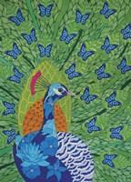 Peacock and Butterflies Fine-Art Print