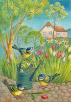 Birds by the Watering Can Fine-Art Print