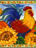 Rooster with Sunflower Border Fine-Art Print