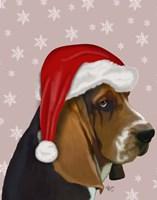 Basset Hound, Christmas Hat Fine-Art Print