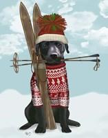 Black Labrador, Skiing Fine-Art Print